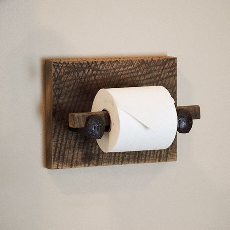Barn Wood Toilet Paper Holder, rustic toilet paper hanger with railroad spikes by TumbleweedCabin on Etsy https://www.etsy.com/listing/207563929/barn-wood-toilet-paper-holder-rustic