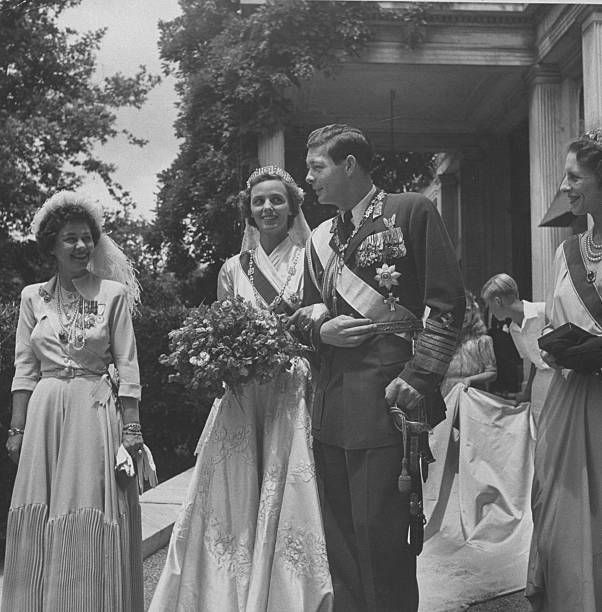 Michael, the Ex-King of Rumania w. his bride Princess Anne of Bourbon posing w. Queen Frederika of Greece (L) after Greek Orthodox wedding.