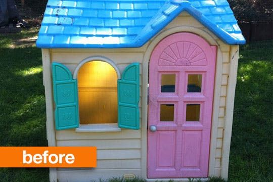 We've all seen these plastic playhouses that are relatively inexpensive but don't really wear well with time