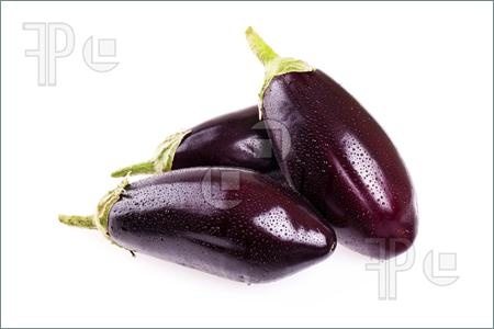 Picture of Vegetables - Fresh eggplants on white background.