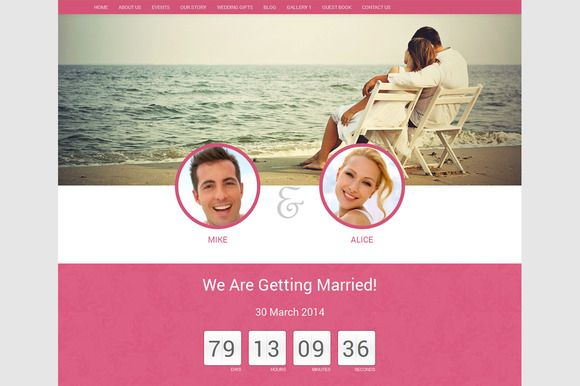 Wordpress Wedding Theme-'Wedding' by WebNesters  on Creative Market