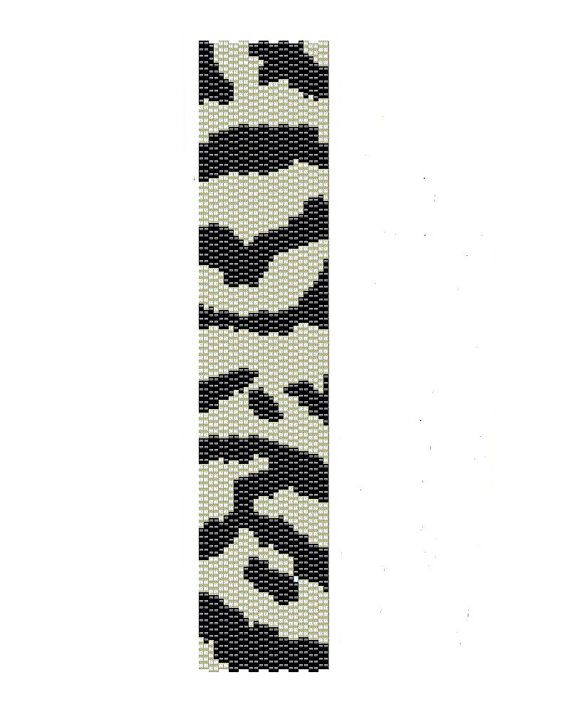 Black and white zebra peyote pattern for a peyote cuff,  the measurements for the zebra cuff are (1.27in x 6.6in). It can be re-size if you request it.