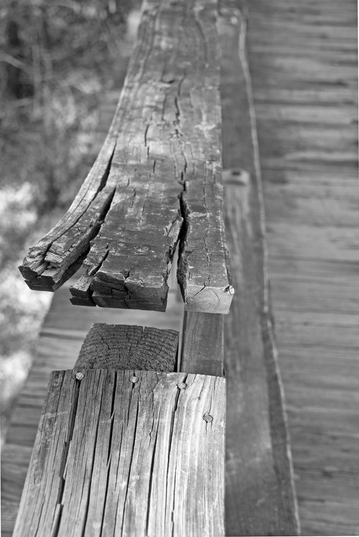 Weathered handrail on old bridge in Lorton, Va.