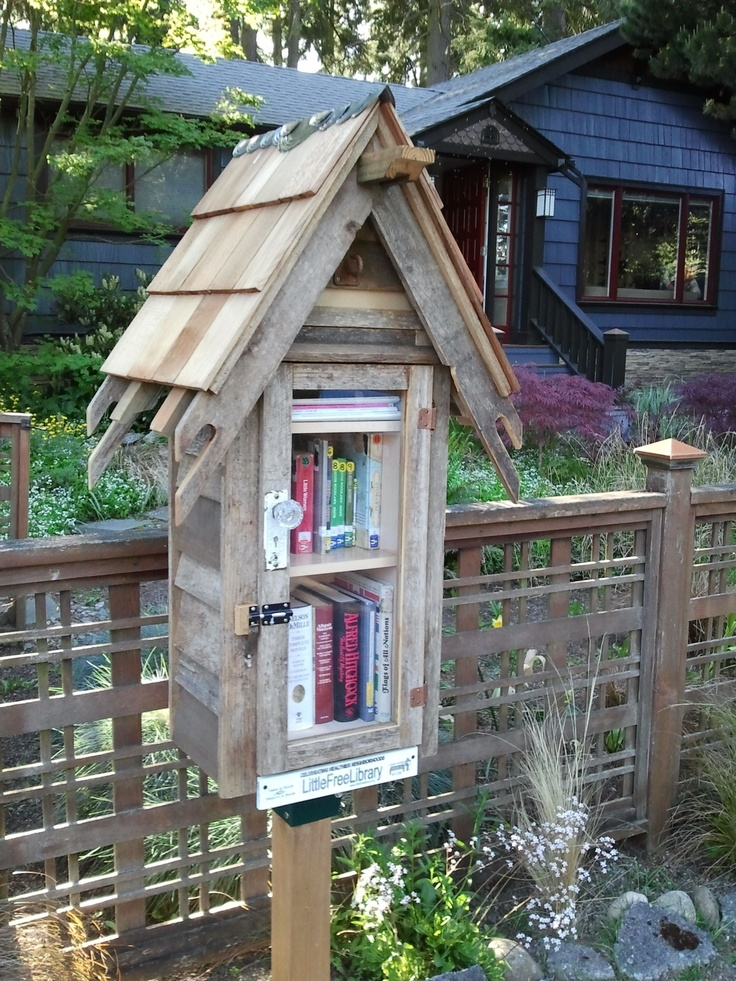 """Maxxy Lovelace. Shoreline, WA. This library.... """"Maxxy's Little Wacky Library"""" is a family project to promote more reading in our neighborhood. Made of all recycled products. We feature a variety of books and magazine but have a focus on kids books and a section for comics. With a secret compartment always filled with goodies. Look forward to seeing many books pass through our Little Library in the future."""