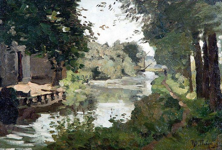 Willem Bastiaan Tholen - Voetpad langs een rivier met een ophaalbrug