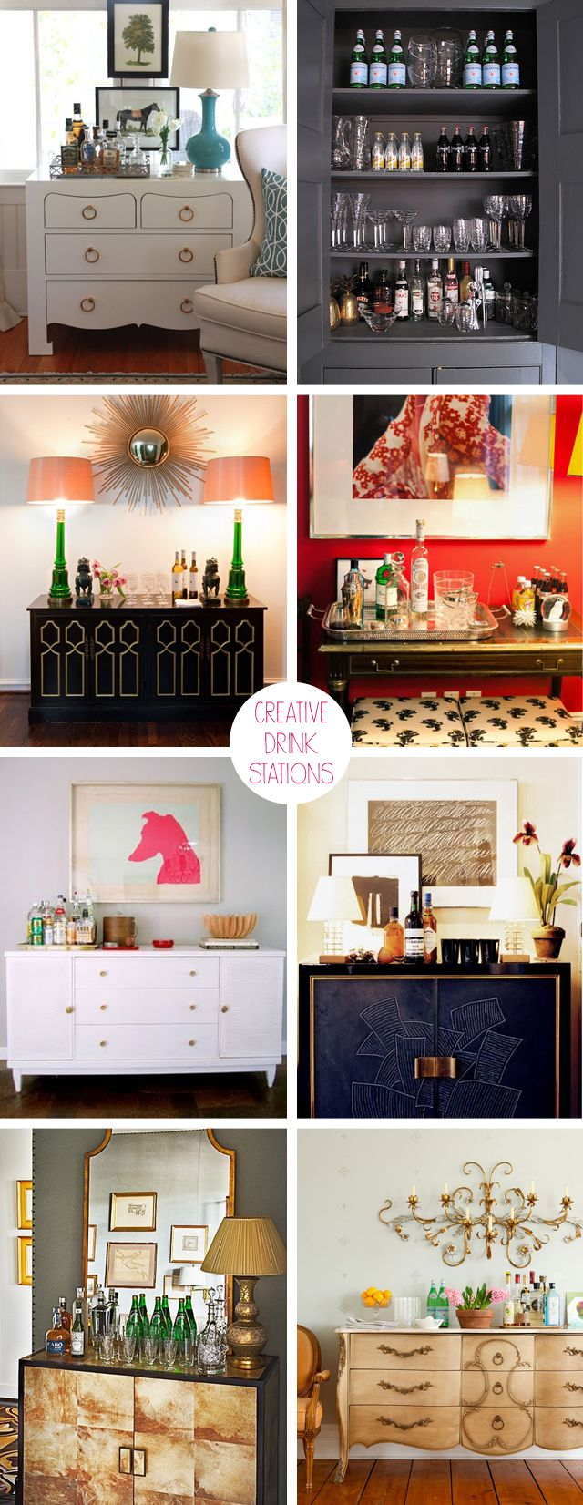 Creating a small drinks station is as easy as using a small cupboard, a stylish console table, a sideboard or really, any flat surface available and creating a gorgeous entertaining space. Just add a stylish tray, your favourite tipple and mixers, a few blooms and an interesting assortment of barware and you're all set.
