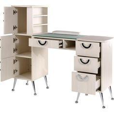 EuroStyle Manicure Table | Retro Design In Soft Ivory Color - Model MKG-767