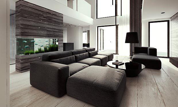 Fancy - Modern Sectional Sofa & Ottoman...i really like the fish tank wall behind the sofa