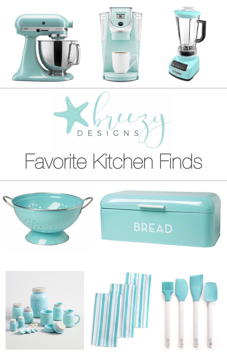 Happy Saturday Friends! I wanted to share with you today some of my favorite aqua kitchen finds! I love to mix different aqua colors together in my kitchen. I have a white kitchen with a neutral wa…