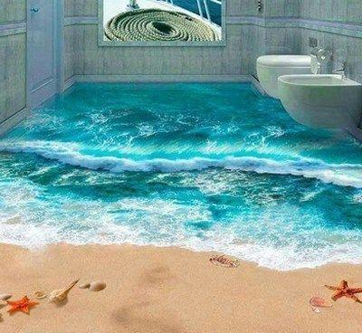 Pavimentazione con rappresentazione di una spiaggia.