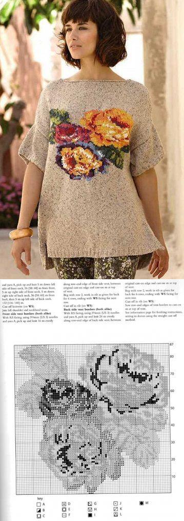 Пуловер с розами Santorini by Marie Wallin.