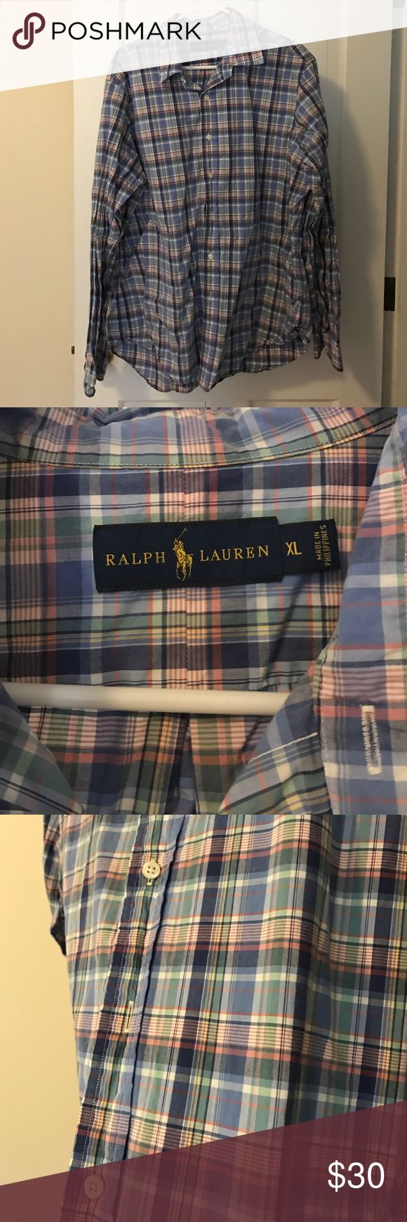 Ralph Lauren blue and pink shirt I am cleaning out my husbands closet. He has more than 50 shirts from JCrew that we are going through. All are XLARGE and in great condition. Please consider bundling to save. Please msg for more info. Ralph Lauren Shirts