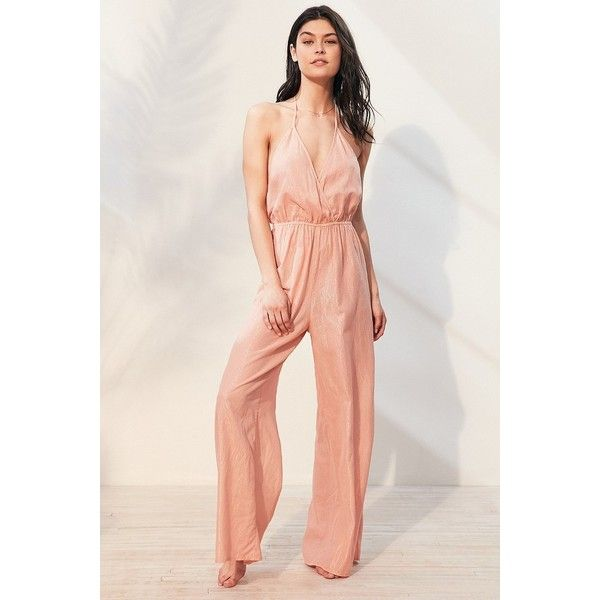 Out From Under Winona Wide Leg Jumpsuit (94 AUD) ❤ liked on Polyvore featuring jumpsuits, coral jumpsuit, wide leg jumpsuit and jump suit