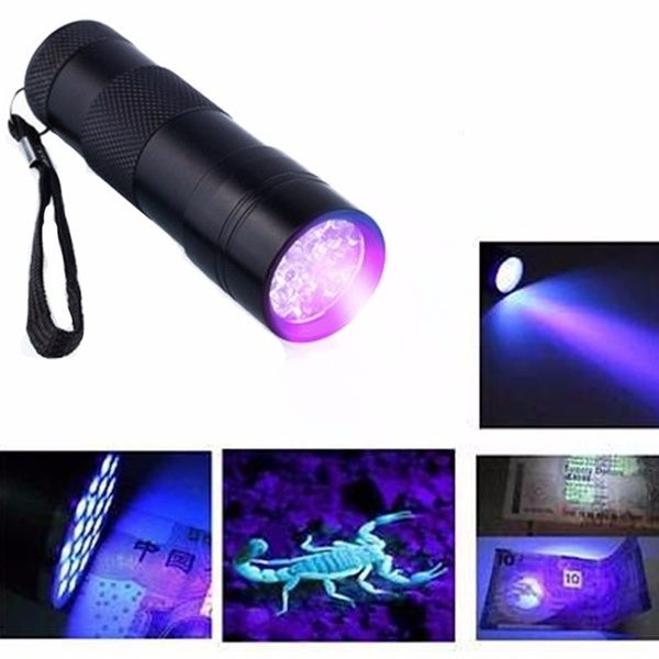 Led Uv Flashlight 9 Led Beads Purple Violet Flashlight Portable In 2020 Flashlight Led Ultra Violet