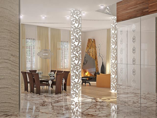 Mansion interior design dining room columns living for Columns designs