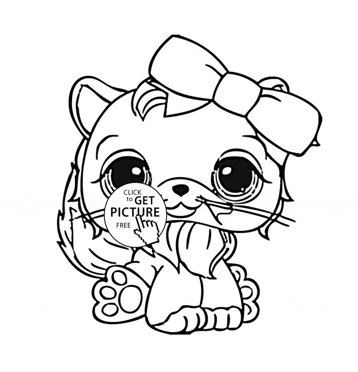 Littlest Pet Shop Cute Cat coloring page for kids, animal ...