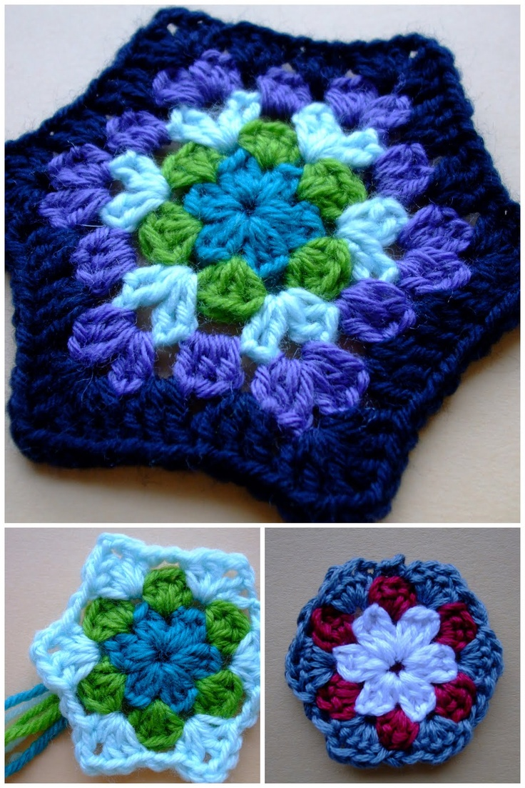 Springtime Hexagon, by Kim of eggbirddesigns.  About 4 to 4.5 inches across with DK yarn & an F hook.     . . . .   ღTrish W ~ http://www.pinterest.com/trishw/  . . . .    #crochet #granny_hexagon
