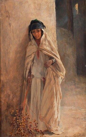 Girardet /jeune femme de bou saada Algérie algeria peinture art