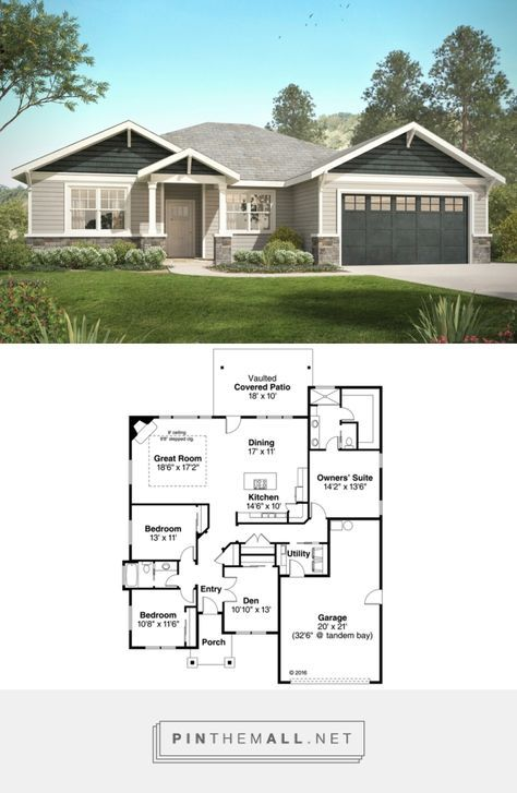 Craftsman Style House Plan - 3 Beds 2 Baths 2015 Sq/Ft Plan #124-1031 https://www.houseplans.com/plan/2015-square-feet-3-bedroom-2-bathroom-2-garage-craftsman-ranch-40872