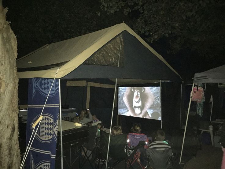 Camping Australia. Big screen movies while camping. Kids have it to good these days