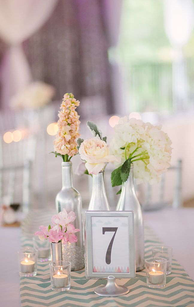 Spray Paint Recycled Bottles For Floral Table Settings