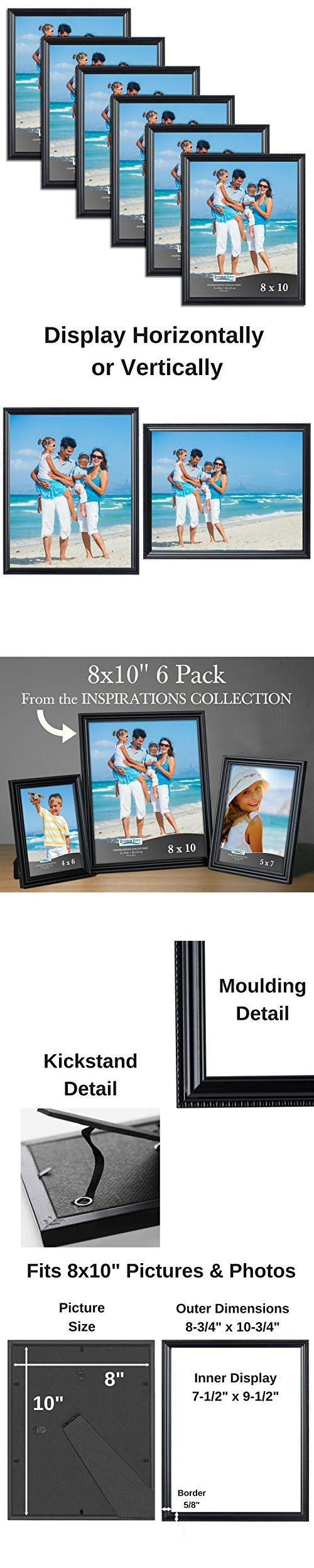 Icona Bay 8 by 10 Inch Picture Frames, 6 Pack