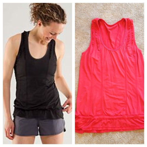 Lululemon Mind Over Matter tech tank Color - tango red (Orange/red). Selfless to be worn over bra. Like new condition. No trades. No PayPal. lululemon athletica Tops Tank Tops