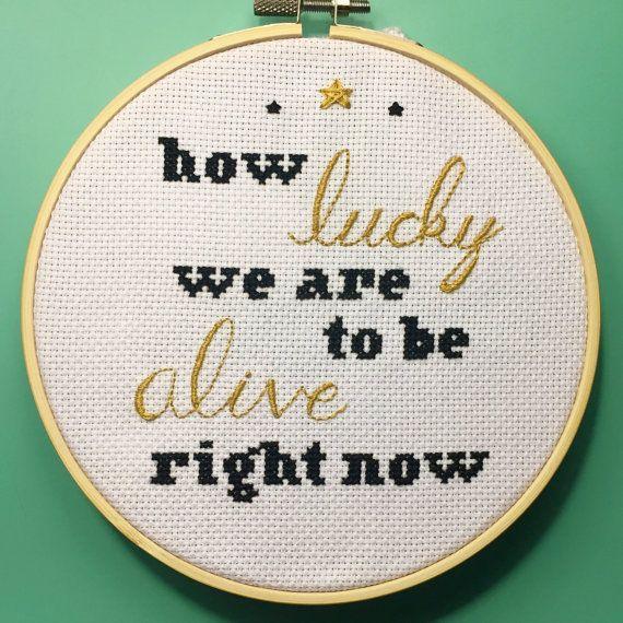 "HAMILTON ""Schuyler Sisters"" Lyric - Broadway Hooped Cross Stitch"