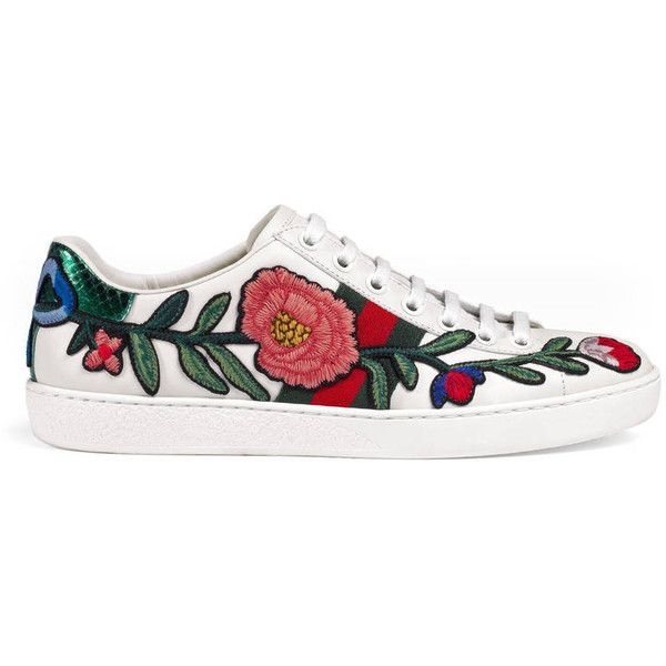 Gucci Floral Embroidered Low-Top Sneaker ($630) ❤ liked on Polyvore featuring shoes, sneakers, women, leather sneakers, gucci trainers, leather shoes, flower print sneakers and rubber sole shoes
