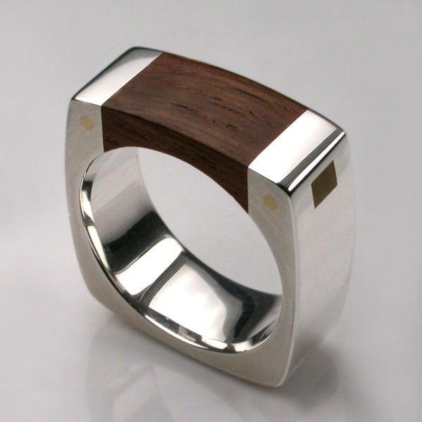 Mortice Ring Silver. #ring #wood #stylish