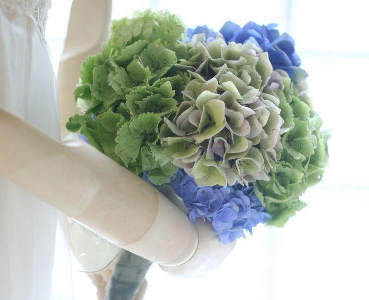 ブーケ クラッチ あじさい緑と青 響さまへ : 一会 ウエディングの花