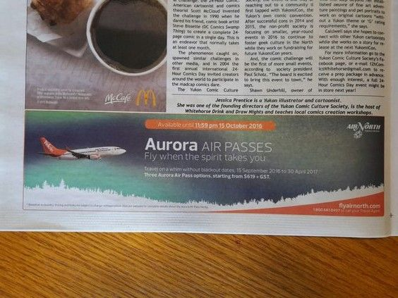 LINE: This Air North ad shows many dynamic lines. The orange line with the logo in it, the tree line and the soft horizontal lines of the aurora. It supports that Air North is a AirLINE.