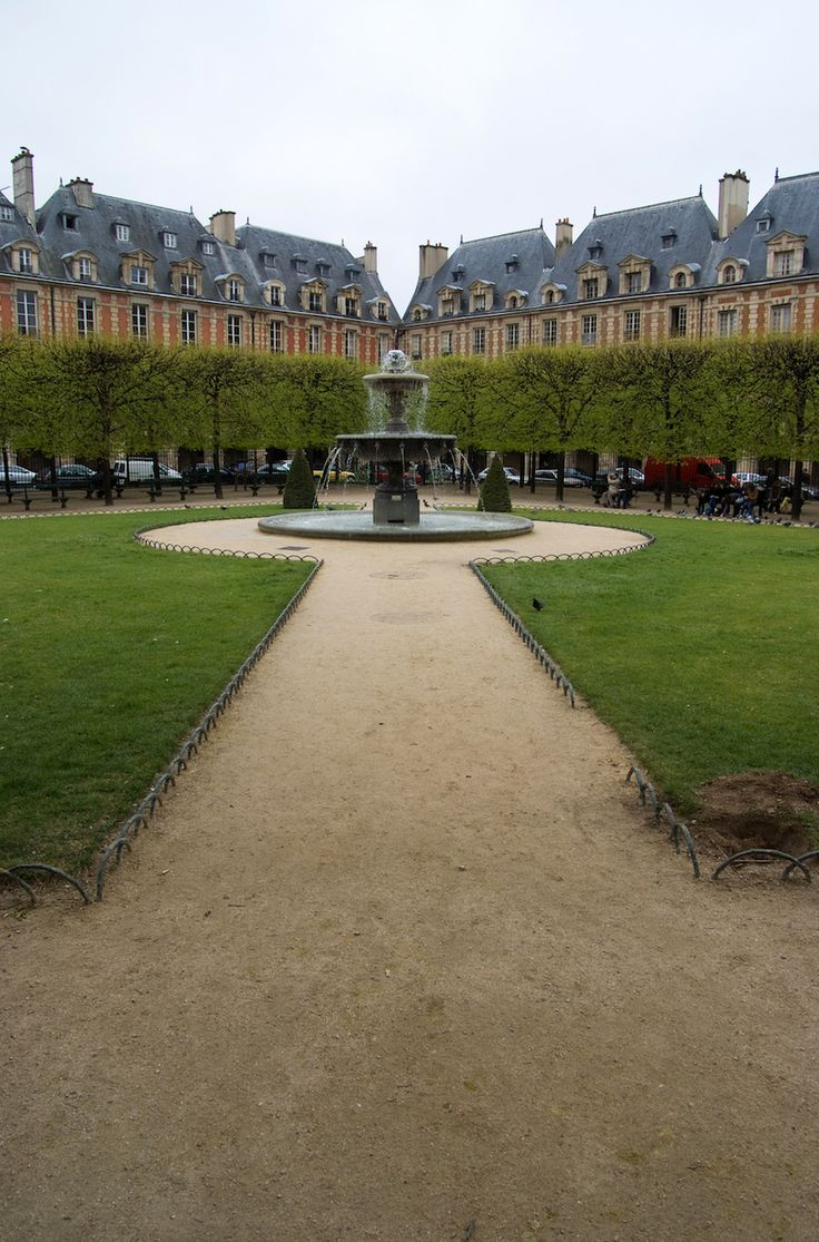 The Place des Vosges in Le Marais.  Click for more places to see in Paris and hot spots to frequent.