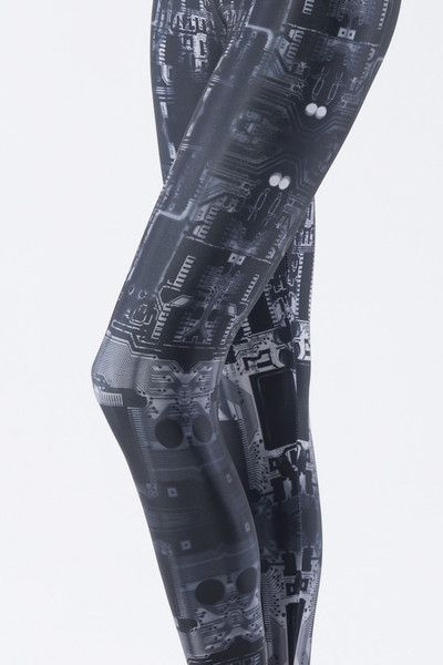 Circuit board leggings: Robots Legs, Style, Geek Girls, Black Milk Clothing, Boards Grey, Blackmilkclothing, Circuit Boards, Grey Legs, Grey Leggings