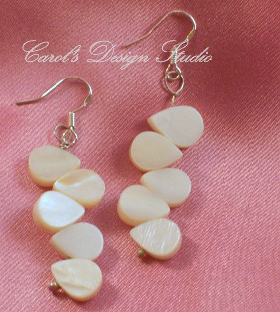 Mother of Pearl and Argentium Sterling Silver Earrings #bestofEtsy #etsy #handmade #design #gifts