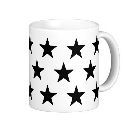 Black Stars On White Mug. Perfect for your black and white home decor.  #stars, #black #stars, #black #and #white, #kitchen, #lounge, #dining #room, #black, #white, #his, #hers, #male, #female, #drink, #drinking
