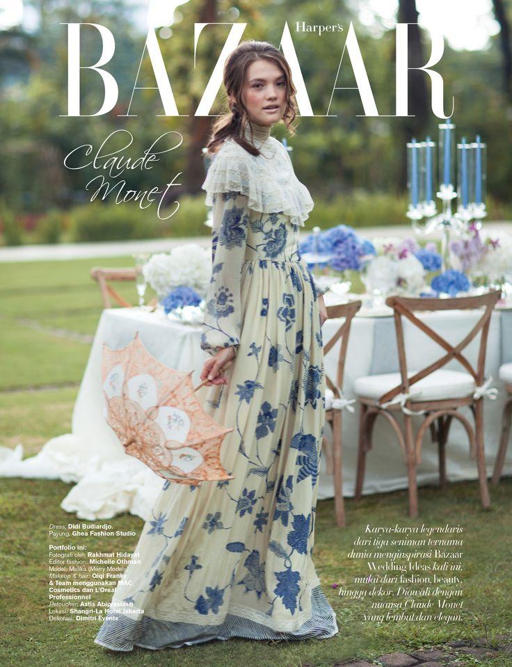 as fashion editor, styled for Harper's Bazaar Wedding Ideas (Art Inspiration: Claude Monet)