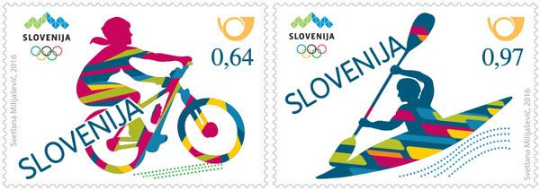 Posta Slovenije issued Rio 2016 Olympic stamps featuring two sports women's mountain biking and men's canoe/kayak slalom.