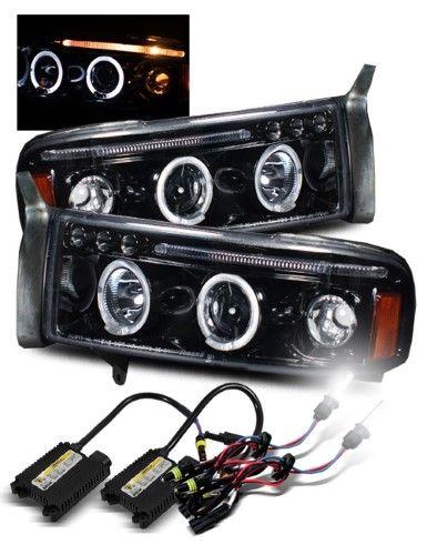 6000k Hid 94 01 Ram 1500 94 02 2500 3500 Halo Projector Headlights Glossy Black Projector Headlights Aftermarket Headlights Halo