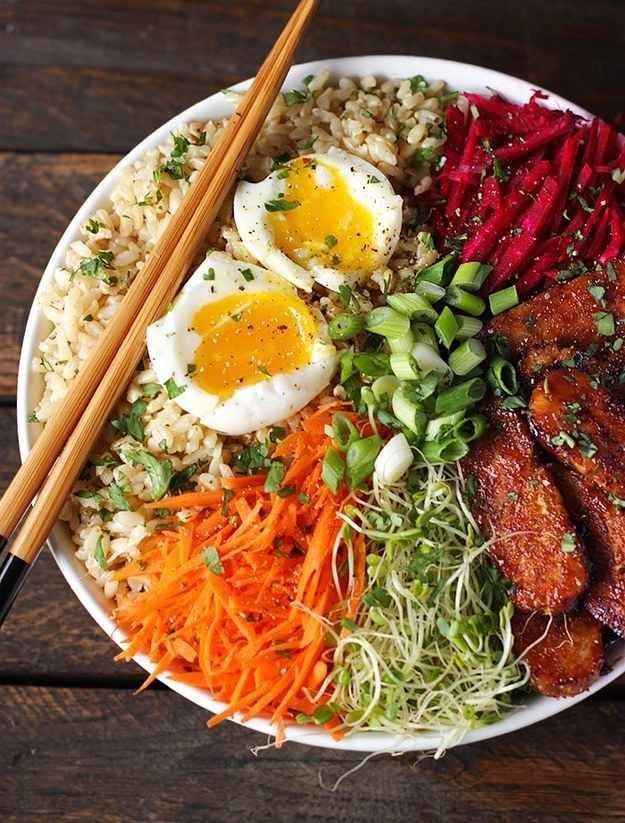Smoky Tempeh Vegetable Rice Bowl