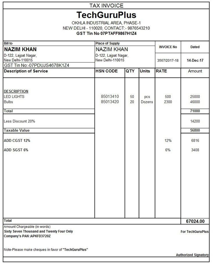 Gst invoice format in excel word pdf and jpeg format no