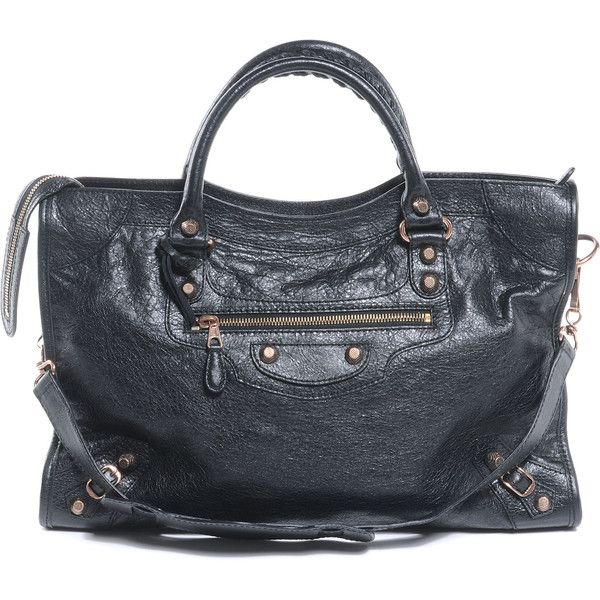 BALENCIAGA Agneau Giant 12 Rose Gold City Black ❤ liked on Polyvore featuring bags, handbags, zippered tote bag, tote bag purse, balenciaga tote, clasp purse and studded purse