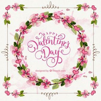 バレンタインのためのプリティ花の水彩画の花輪