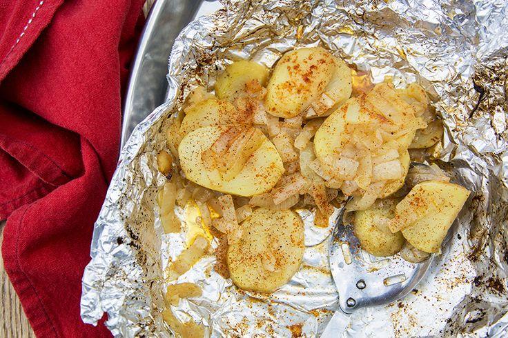 Papillote de pommes de terre aux oignons et paprika