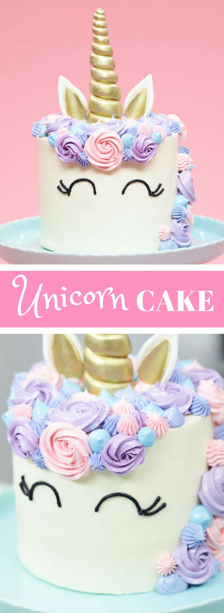 An easy funfetti Unicorn Cake recipe adorned in pastel buttercream and topped with a golden horn! Makes one 6 inch cake