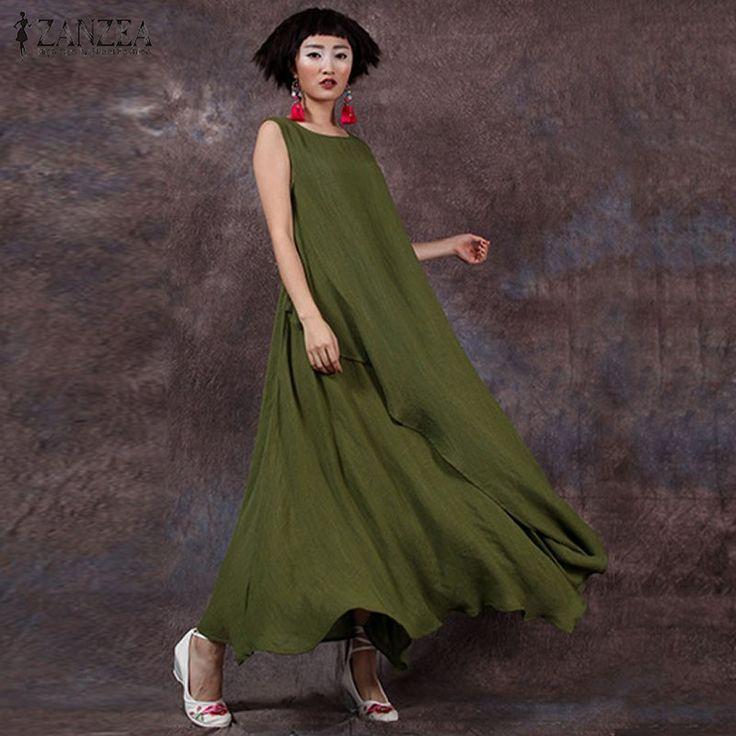 Ucuz 2016 Yaz ZANZEA Kadınlar Pamuk Keten Retro Elbise Uzun Maxi Rahat Gevşek Kolsuz O Boyun Ayak Bileği uzunluk Elbise Vestidos artı Boyutu, Satın Kalite elbiseler doğrudan Çin Tedarikçilerden: Vestidos 2016 Summer Autumn ZANZEA Women Vintage Cotton Linen Dress Elegant Casual Loose 3/4 Sleeve Long Maxi Dress Plus