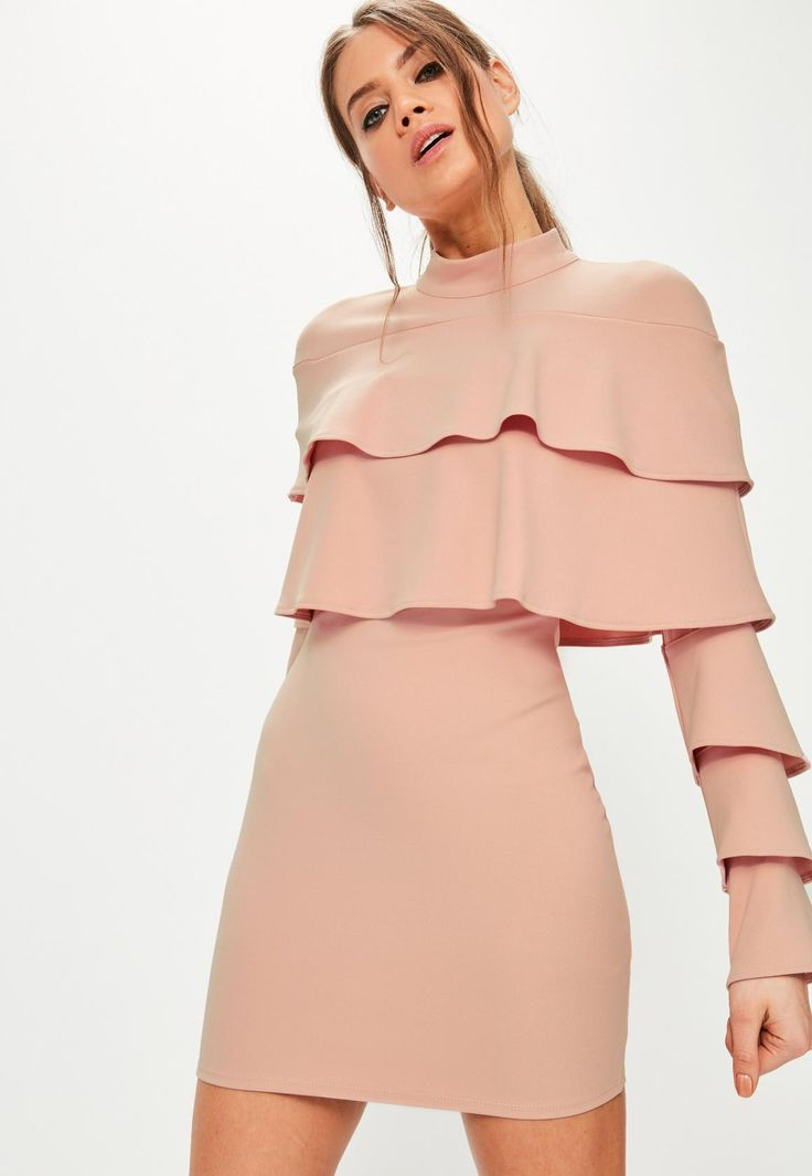 Missguided - Pink Crepe Layered Frill Bodycon Dress
