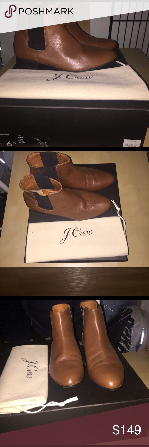 J. Crew Flat Chelsea Boot J. Crew Chelsea boots are made of real leather with elastic panels at the ankle to allow for ease in taking them on and off. Such a comfy shoe! J. Crew Shoes Ankle Boots & Booties