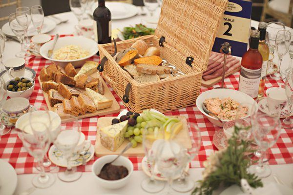 Cute Homespun Marquee Indoor Picnic WeddingHamper Tables  http://www.milkbottlephotography.co.uk/