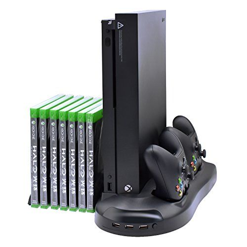 Xbox One X Stand/Cooling Fan,Controller Charger,USB ports
